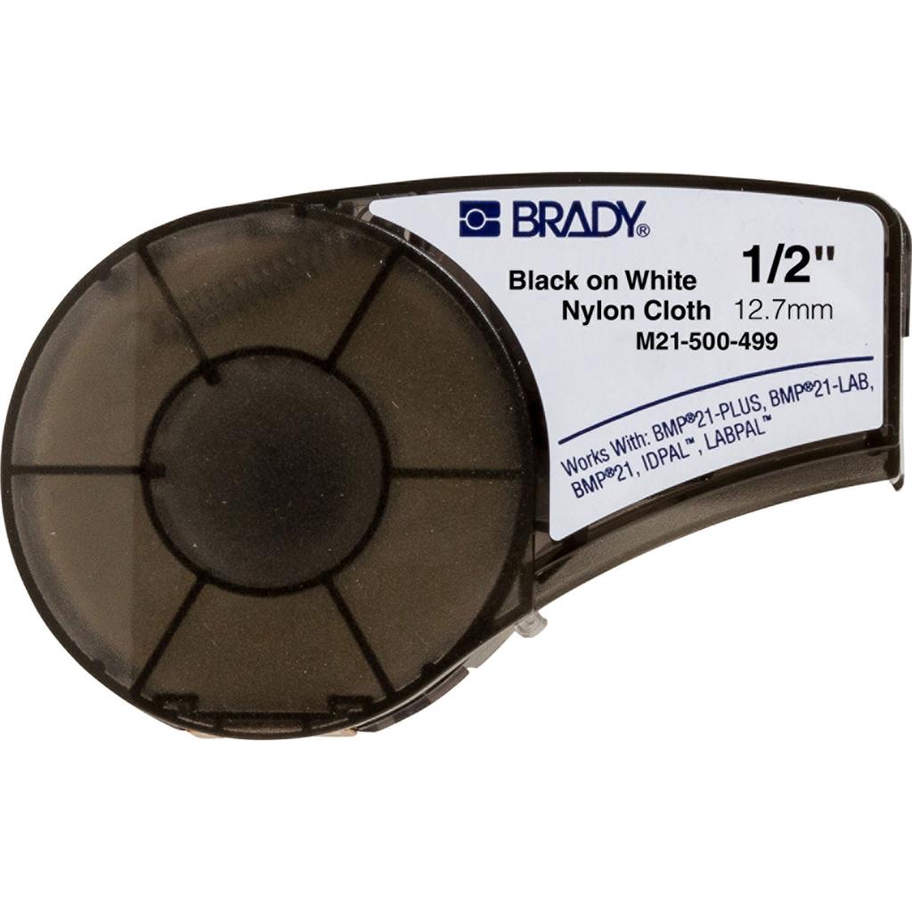 "Brady M21-500-499 Nylon Cloth Wire Marker Labels for BMP21 / ID PAL Mobile Printers. Black Ribbon on White Tape, .500"" x 16'"