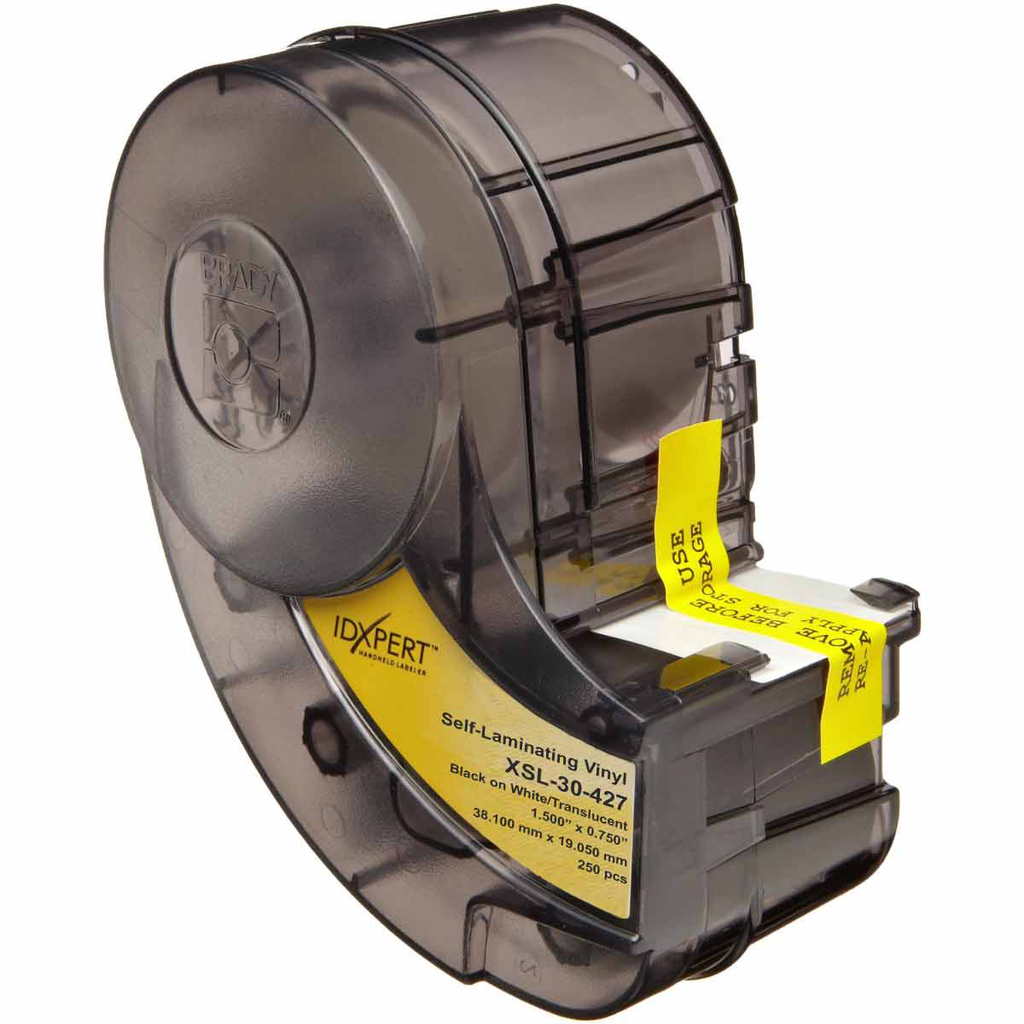 Brady XSL-30-427 250/Pack 0.75 x 1.5 Inch Black/White/Translucent Vinyl Wire and Cable Marking Label
