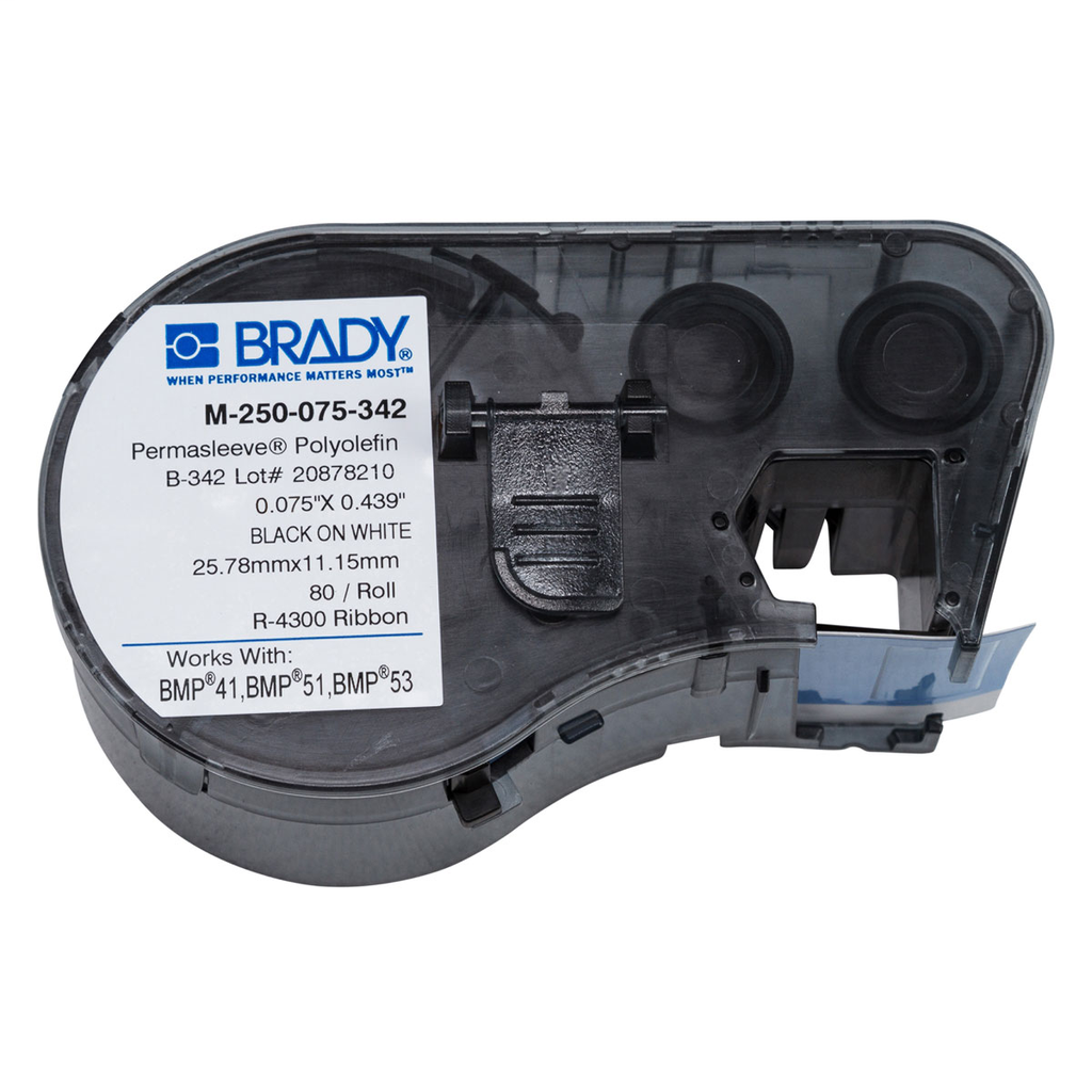 Brady M-250-075-342 80-Pack White 0.75 x 0.439 Inch Label Cartridge