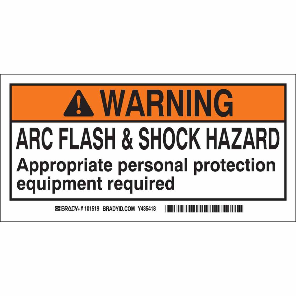Brady 101519 B302 10-Pack 2 x 4 Inch Black/Orange/White Flash and Shock Labels