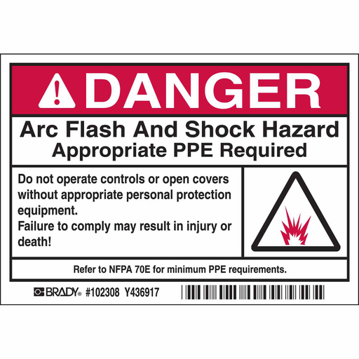 """Mayer-Arc Flash Labels, DANGER w/Pictogram - Self-Sticking Polyester, 3.5"""" H x 5"""" W x 0.006"""" D, Black/Red on White-1"""