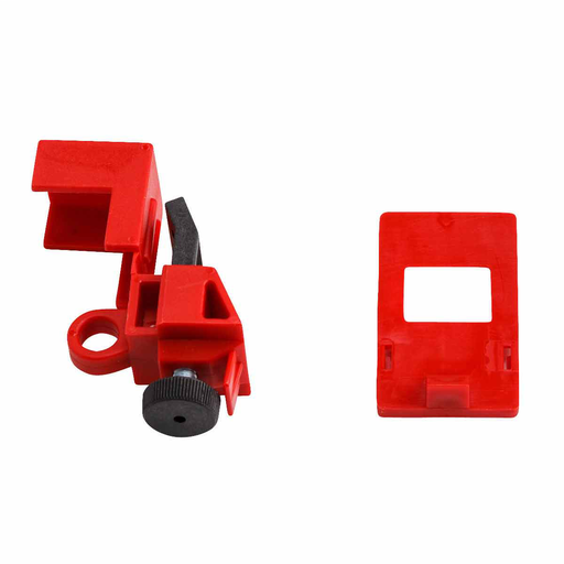 "Mayer-120/277 Volt Clamp-On Breaker Lockouts, 2.205"" H x 0.95"" W x 0.65"" D, Red-1"