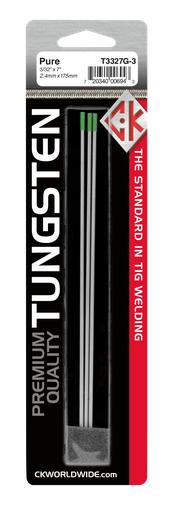 """Tungsten 3/32"""" Pure 7"""" Ground [GREEN]"""