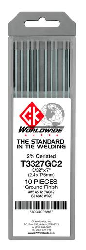"""Tungsten 3/32"""" 2% Ceriated 7"""" Ground [GRAY]"""