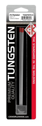 """Tungsten 3/32"""" 2% Thoriated 7"""" Ground [RED]"""