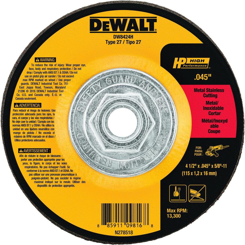 DeWalt DW8424H .045 Inch Type 27 High Performance Metal Cutting Wheels