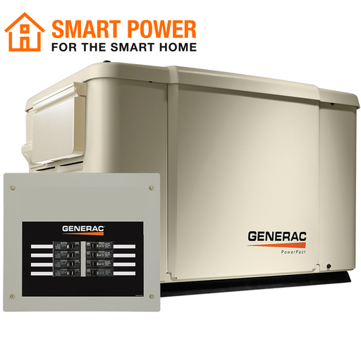 7.5/6kW Air-Cooled Standby Generator, Steel Enclosure, 8 Circuit LC