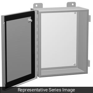 Hammond Manufacturing 1414PHH4 8 x 4 x 8 Inch NEMA 12/13 Gray 16/14 Gauge Steel Enclosure with Panel
