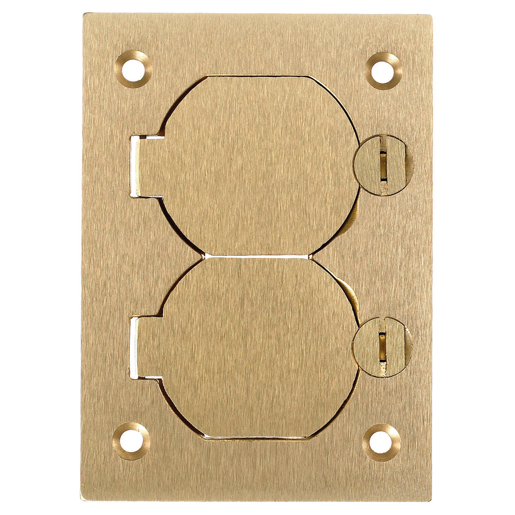 Hubbell Wiring Devices S3825 4.15 x 2.99 Inch Brass Duplex Flap Cover