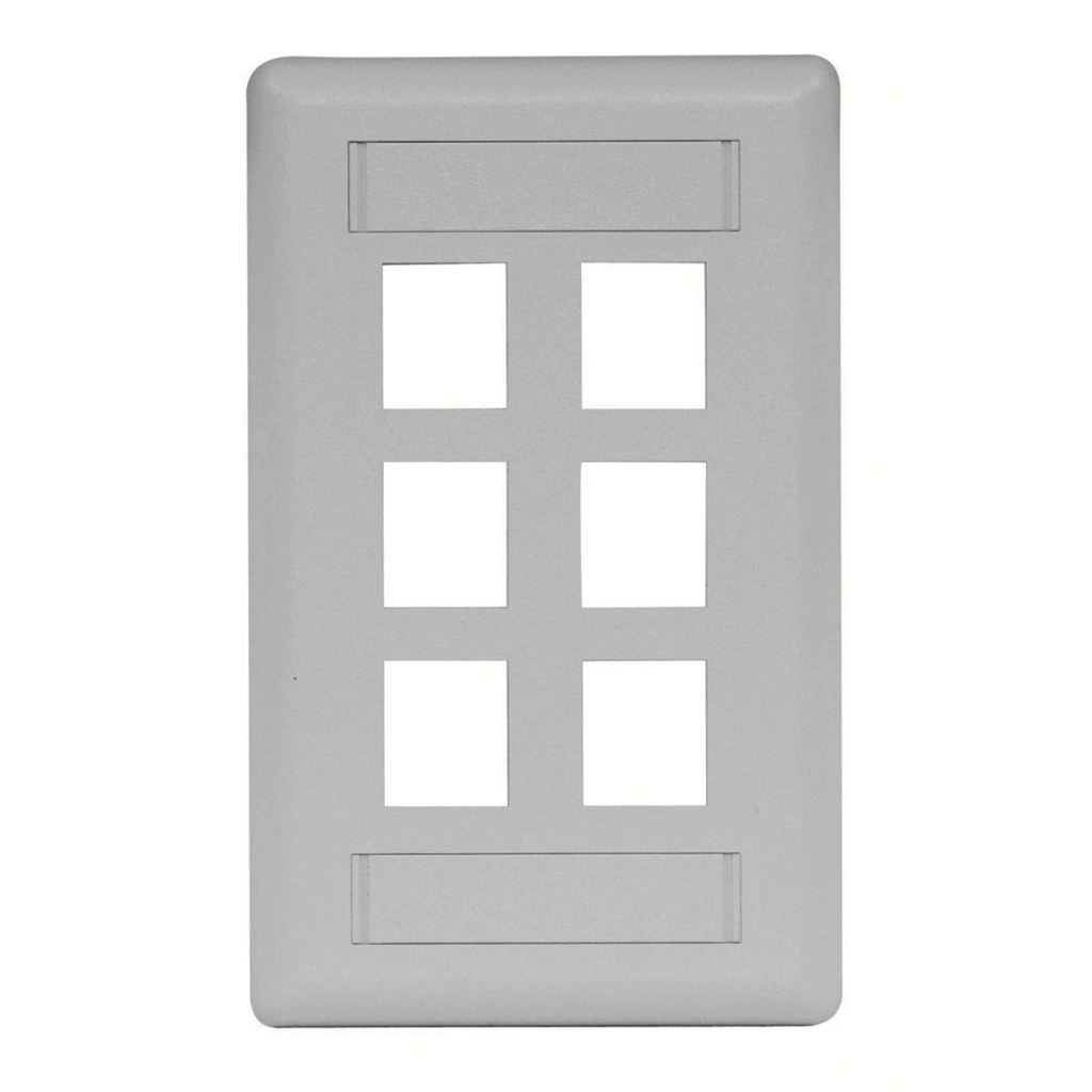 Mayer-Phone/Data/Multimedia Face Plate, Face Plate, Rear-Loading, 6-Port, Single-Gang, Gray-1