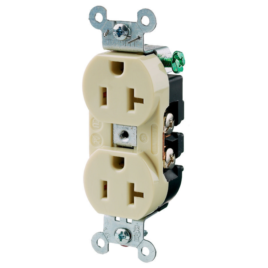 HUBBELL 5352AI IVORY 20A 125VDUPLEX RECEPTACLE BACK & SIDE WIRED