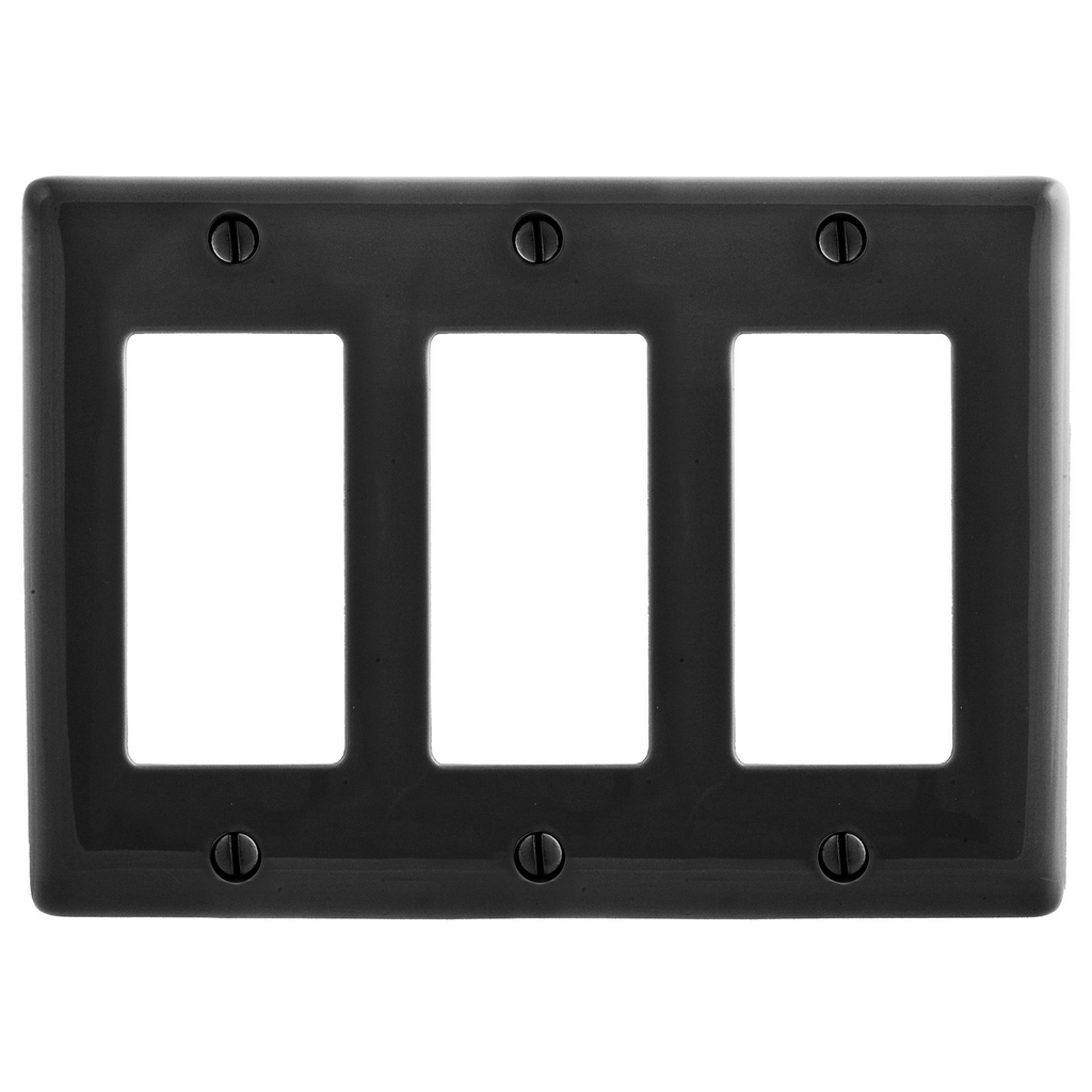 Hubbell Wiring Devices NP263BK 3-Gang Black Nylon Standard 3-Decorator Switch Wallplate