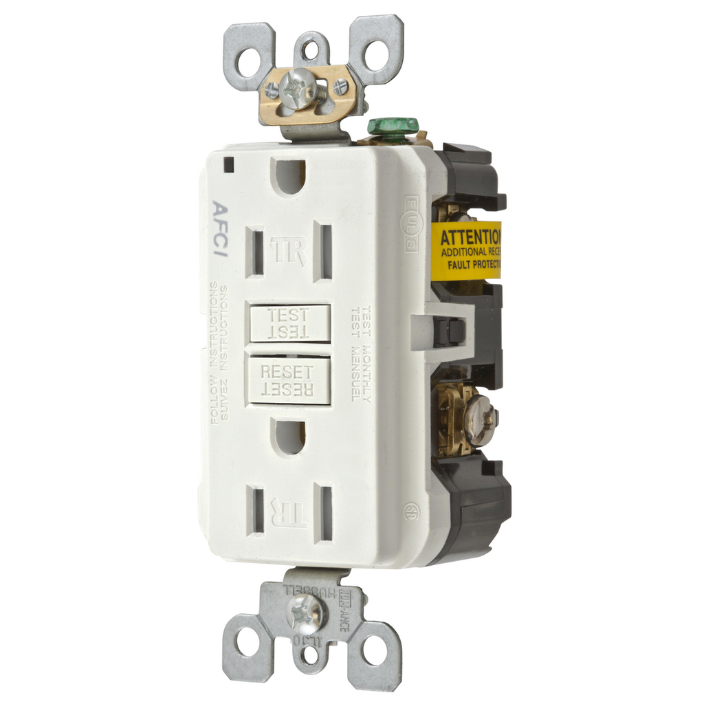 HUBBELL WIRING DEVICES 15A ARC FAULT TR RECEPTACLE WHITE