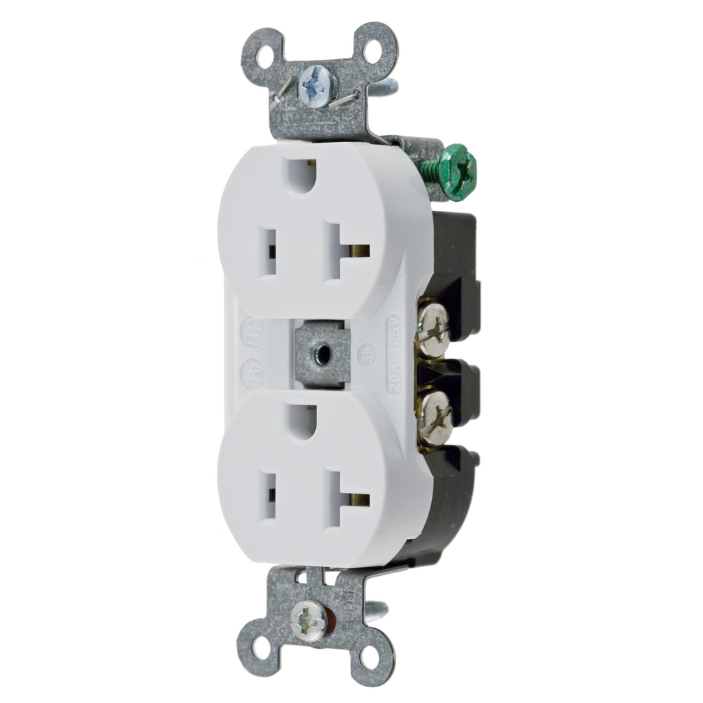 Hubbell Wiring Devices 5352AW 20 Amp 125 Volt 2-Pole 3-Wire NEMA 5-20R White Straight Blade Duplex Receptacle