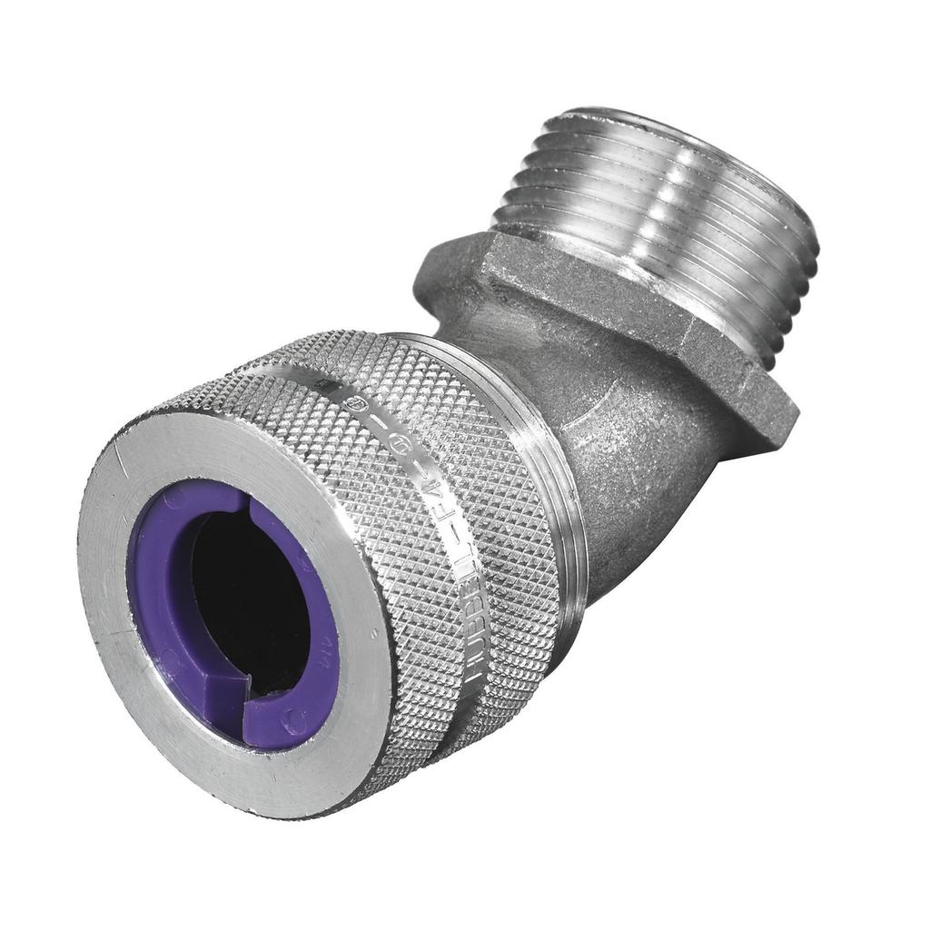 """Kellems Wire Management, Cord Connectors, 45 Degree Male, .75-.88"""", 1"""", Aluminum"""