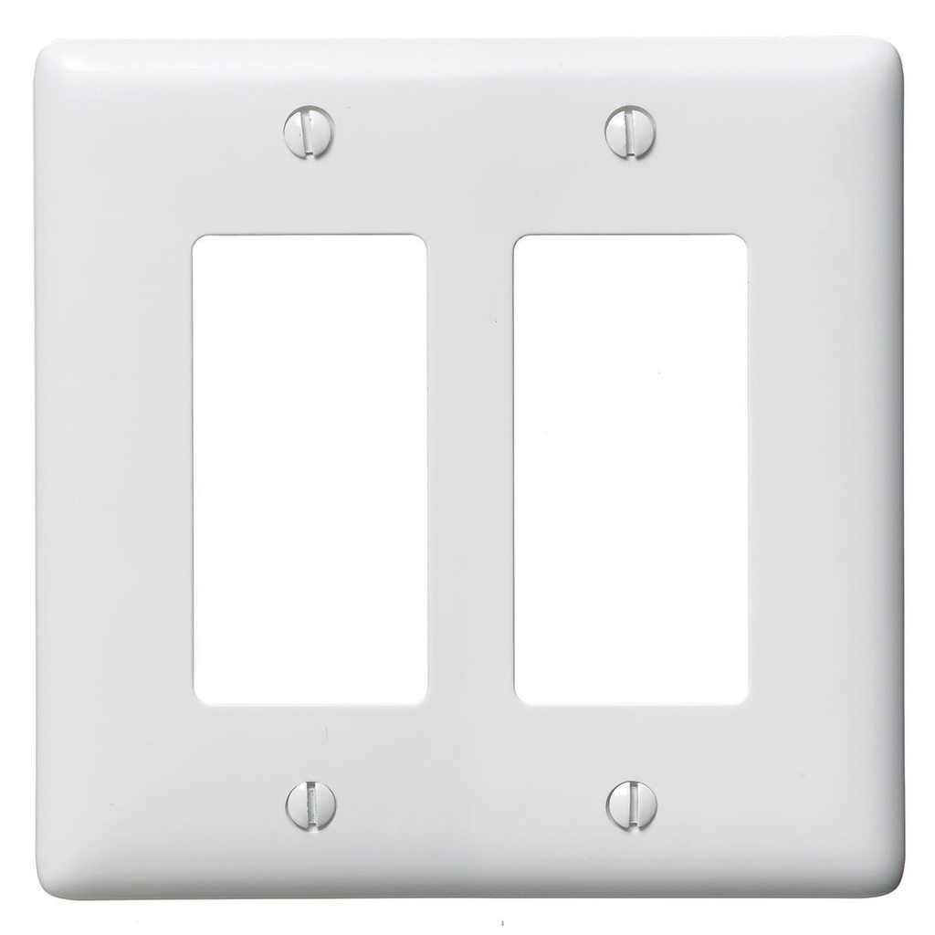 Hubbell Wiring Devices NP262W 2-Gang White Nylon Standard 2-Decorator Switch Wallplate