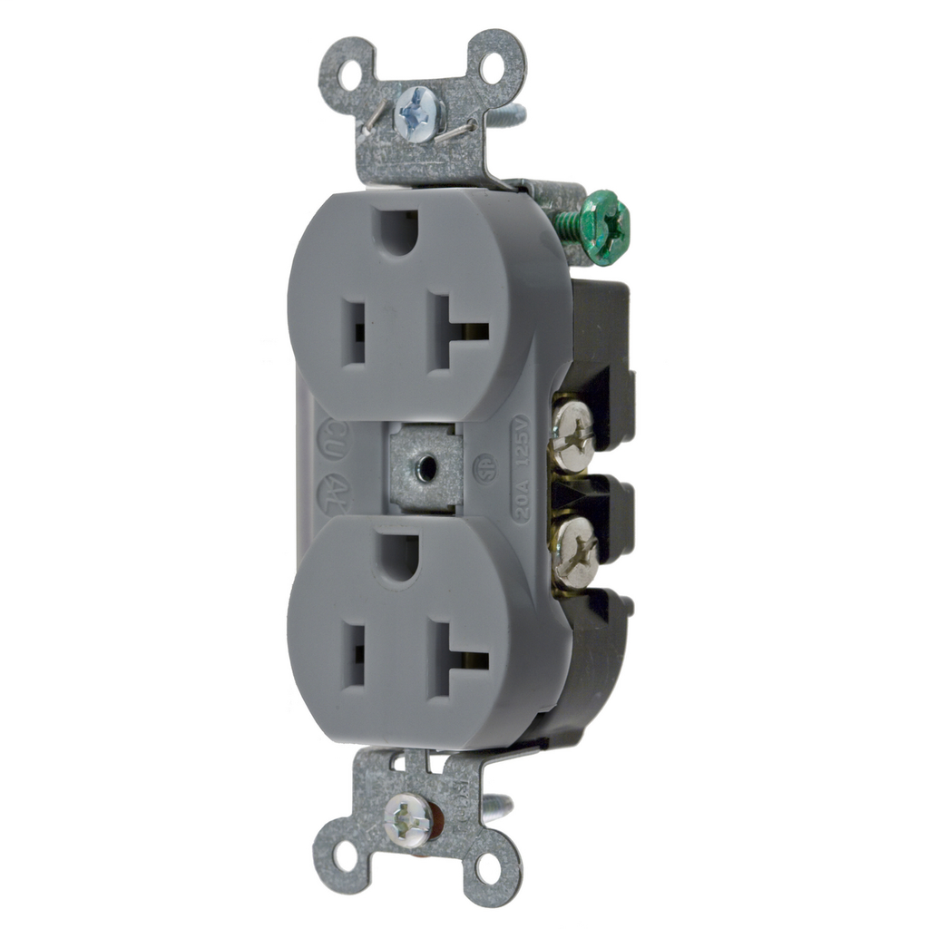 Hubbell Wiring Devices 5352AG 20 Amp 125 Volt 2-Pole 3-Wire NEMA 5-20R Gray Straight Blade Duplex Receptacle