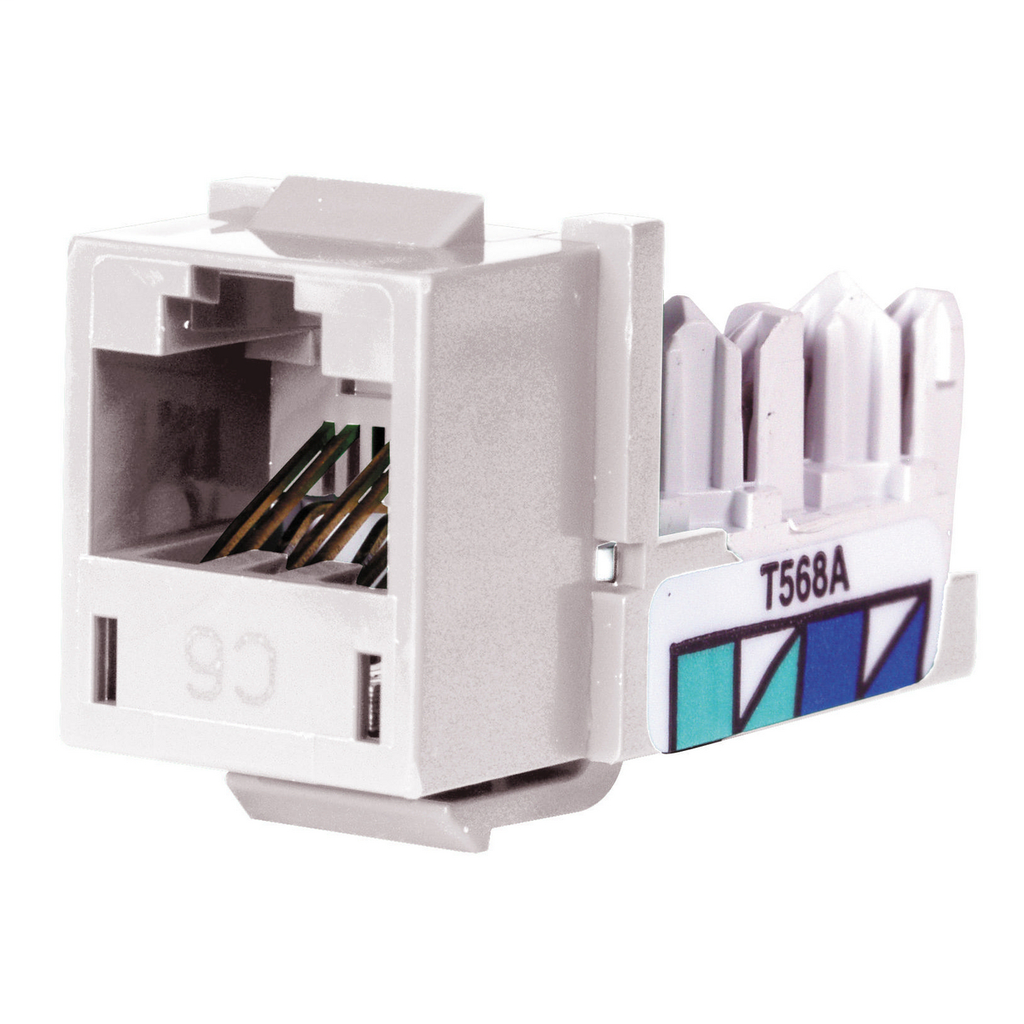 Hubbell Wiring Devices HXJ6W 8-Position White T568A/T568B Category 6 Modular Keystone Jack