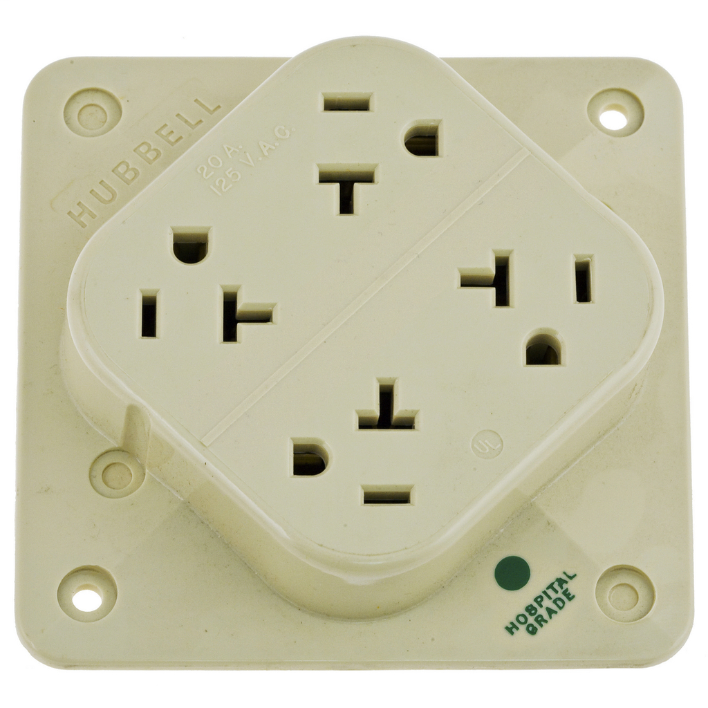 HUBBELL WIRING DEVICES Straight Blade Devices, Receptacles, 4- Plex, Hospital Grade, 2-Pole 3-Wire Grounding, 20A 125V, 5-20R, Ivory, Single Pack