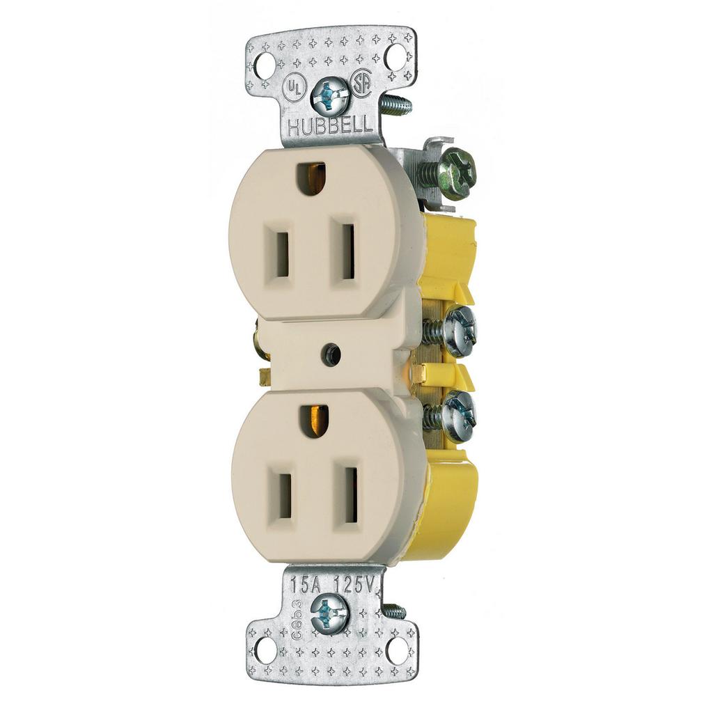 Hubbell Wiring Devices RR15AL 15 Amp 125 Volt 2-Pole 3-Wire NEMA 5-15R Almond Duplex Receptacle