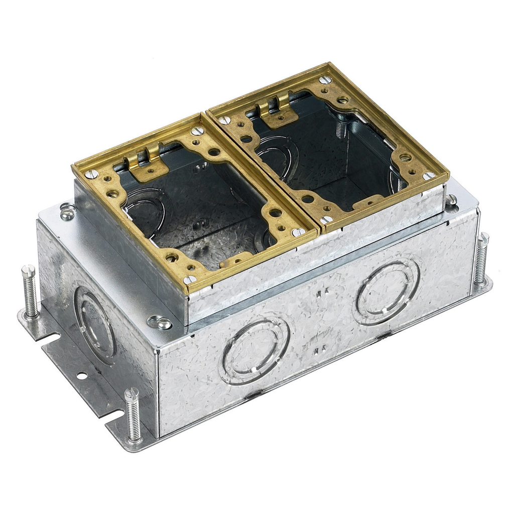 HUBBELL WIRING DEVICES Floor and Wall Boxes, Flush Concrete Floor Box Series, 2-Gang, Rectangular Steel, Deep, Fully Adjustable, Brass