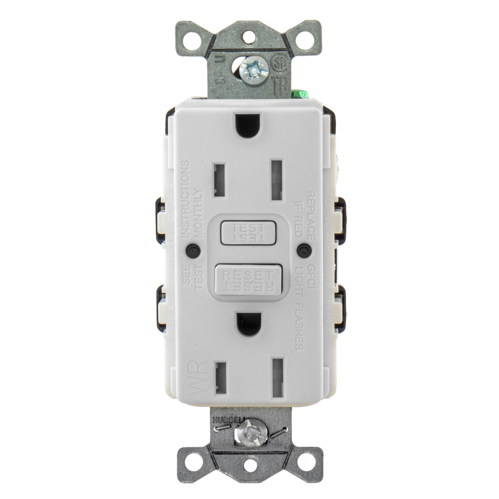 Power Protection Devices, Receptacle, Self Test, GFCI, TRWR, Commercial Grade, 15A 125V, 2-Pole 3-Wire Grounding, 5-15R, White Almond