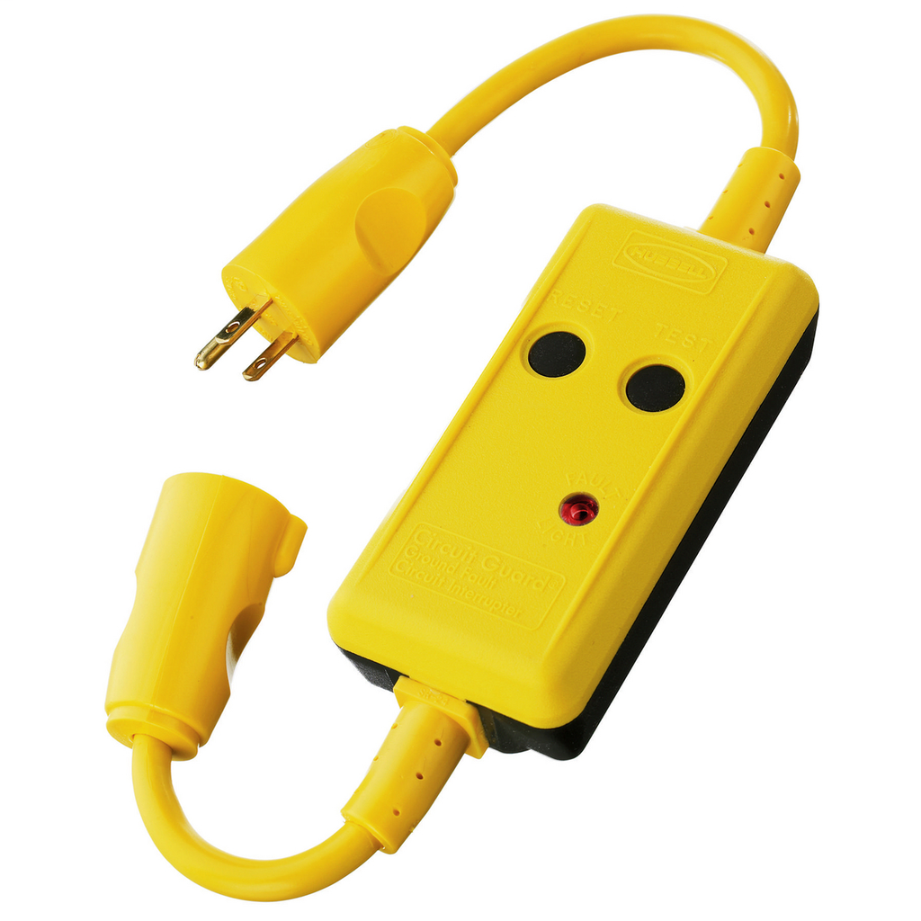 "HUBBELL WIRING DEVICES Power Protection Products, GFCI Linecords, Commercial, Manual Set, 15A 120V AC, 5-15R, 18"" Cord Length, 4-6 mA Trip Level, Black and Yellow"