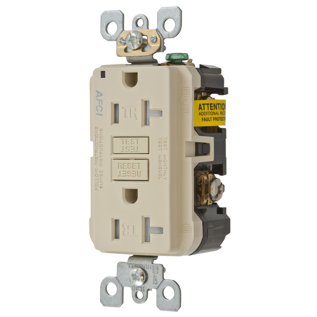 HUBBELL WIRING DEVICES 20A ARC FAULT TR RECEPTACLE IVORY