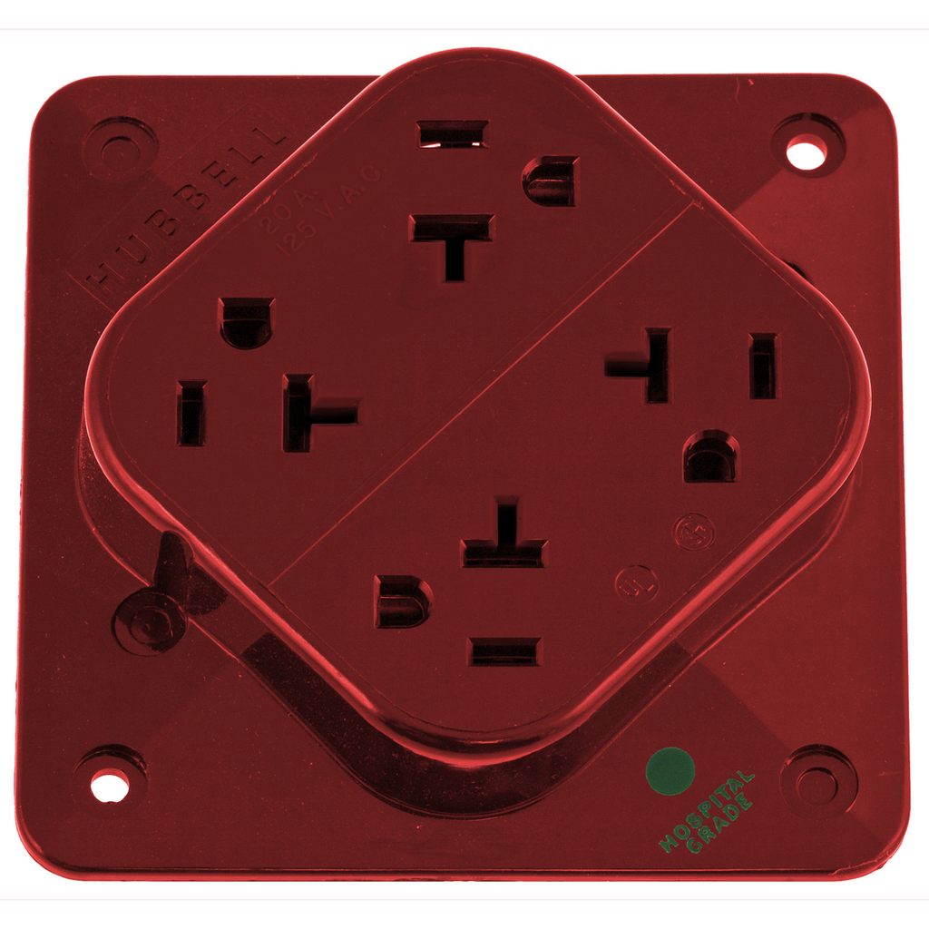 HUBBELL WIRING DEVICES Straight Blade Devices, Receptacles, 4- Plex, Hospital Grade, 2-Pole 3-Wire Grounding, 20A 125V, 5-20R, Red, Single Pack