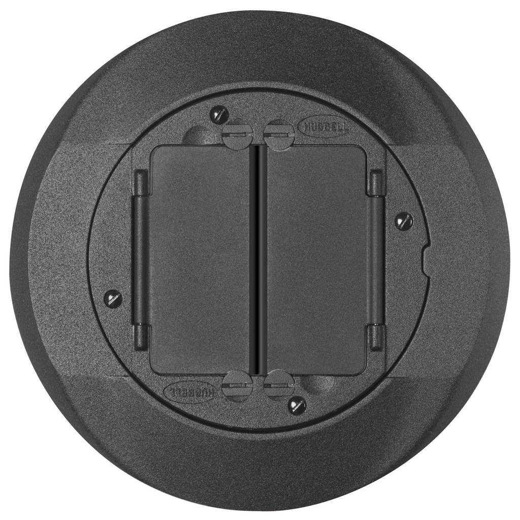 Hubbell Wiring Devices S1CFCBL Black Cast Aluminum Concrete Floor Fire Rated Poke-Through Universal Carpet Flange and Cover