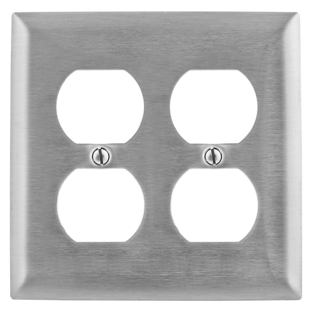 Hubbell Wiring Devices SS82 2-Gang Duplex Stainless Steel Wallplate