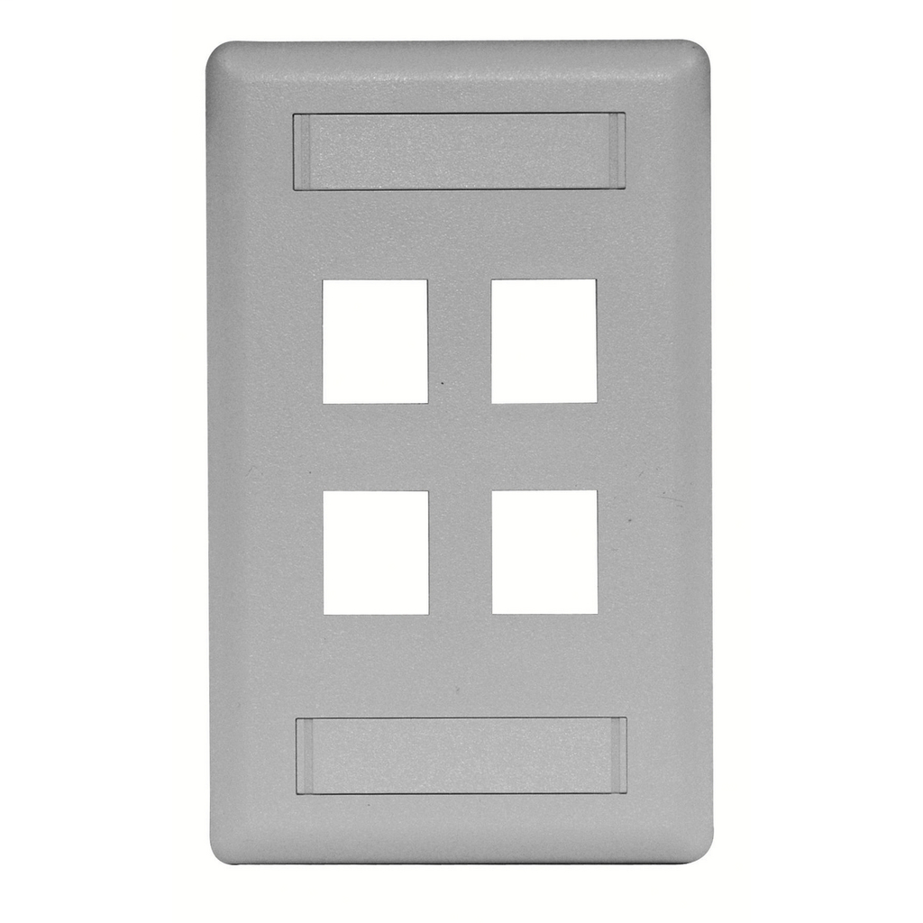 Mayer-Phone/Data/Multimedia Face Plate, Face Plate, Rear-Loading, 4-Port, Single-Gang, Gray-1