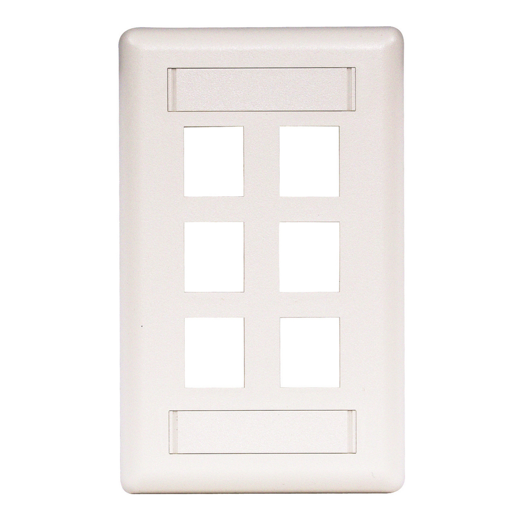 HUBBELL IFP16W 6 PORT FACE PLATE WHITE