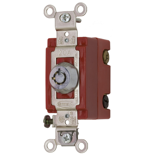 Mayer-Switches and Lighting Controls, Industrial Grade, Barrel Key Locking Switch, General Purpose AC, Three Way, 20A 120/277V AC, Back and Side Wired, Chrome-1