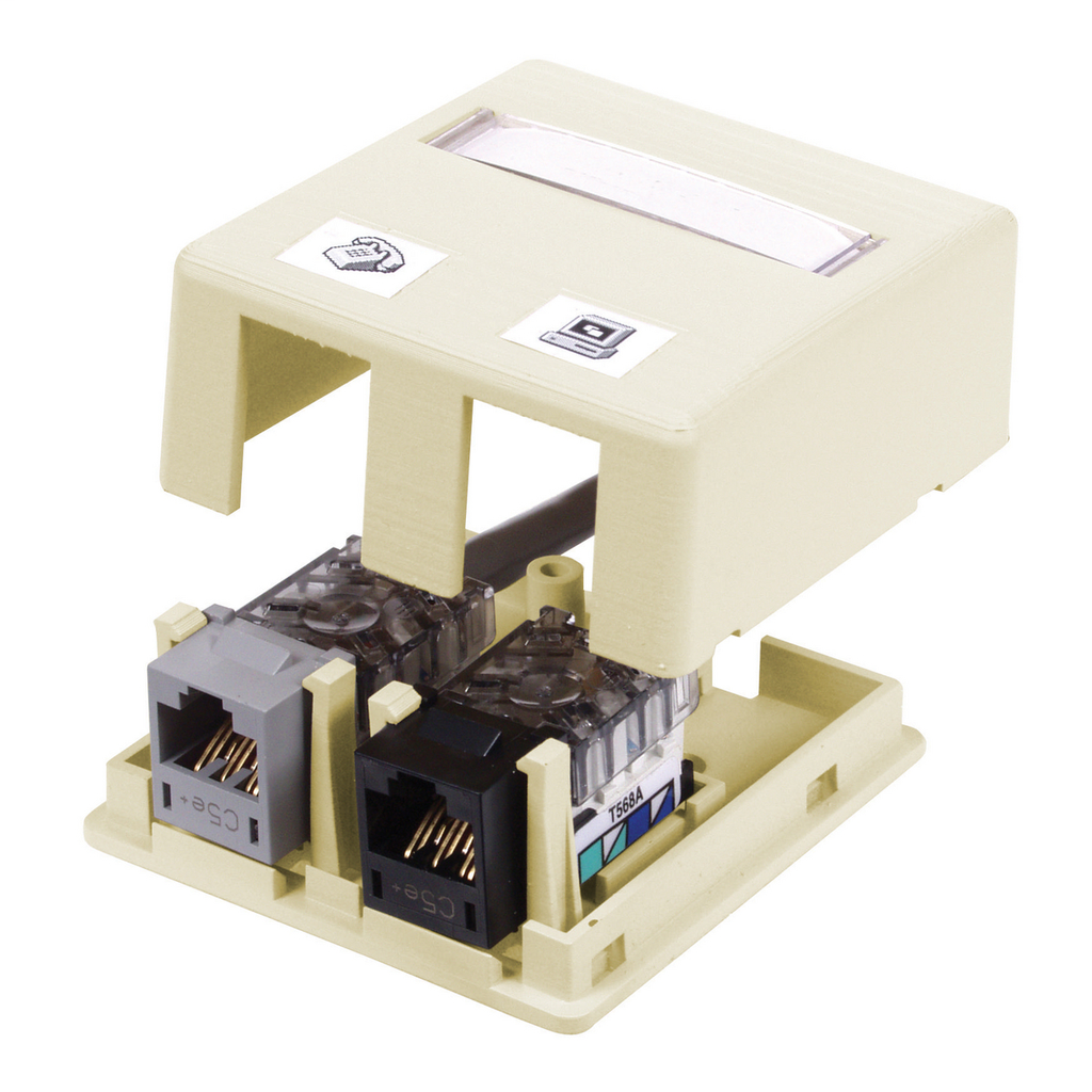 Hubbell Wiring Devices ISB2EI 2-Port Ivory High Impact Resistant Flame Retardant Polymer Surface Mount Box