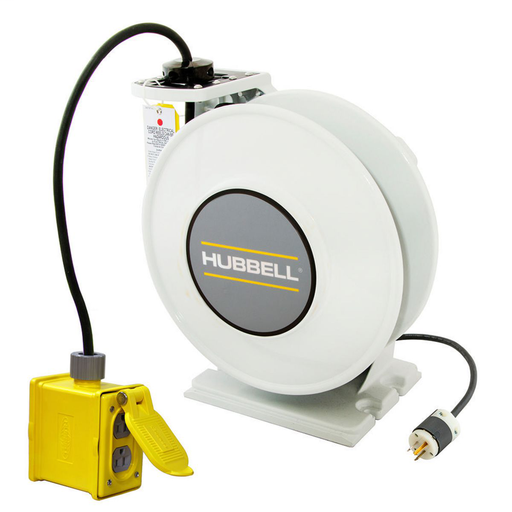 White Industrial Reel with Yellow Portable Outlet Box and (1) 20A Duplex Receptacle, UL Type 1, 45 Ft, #12/3 SJO, 20 A, 250 VAC
