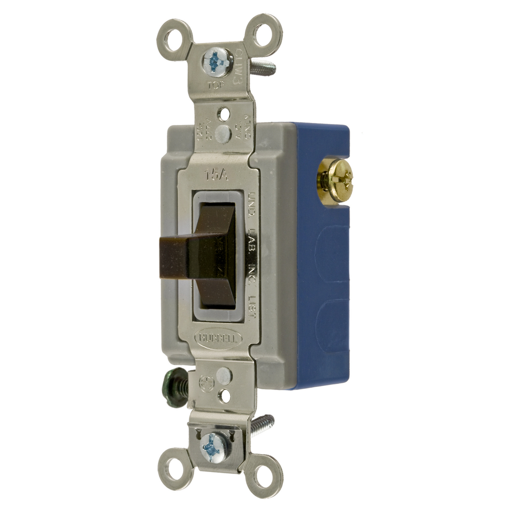 HUBBELL WIRING DEVICES Switches and Lighting Controls, Extra Heavy Duty Industrial Grade, Toggle Switches, General Purpose AC, Single Pole Double Throw Center Off, 15A 120/277V AC, Back and Side Wired, Brown Toggle