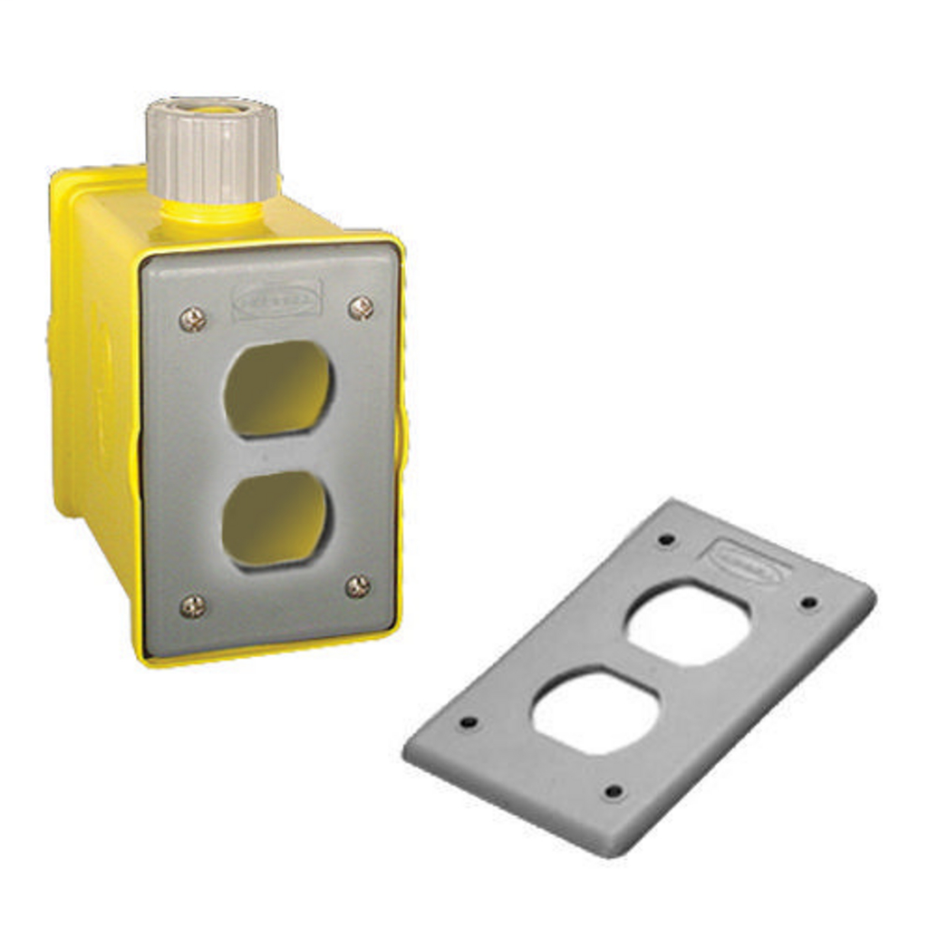 Hubbell Wiring Devices HBLPOB1D Yellow Heavy Duty Portable Outlet Box
