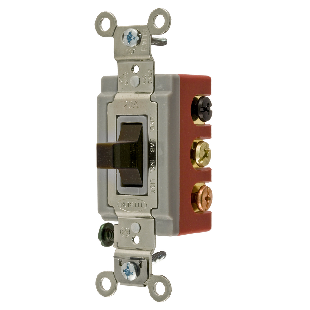 HUBBELL WIRING DEVICES Switches and Lighting Controls, Extra Heavy Duty Industrial Grade, Toggle Switches, General Purpose AC, Double Pole Double Throw Center Off, 20A 120/277V AC, Back and Side Wired, Brown Toggle
