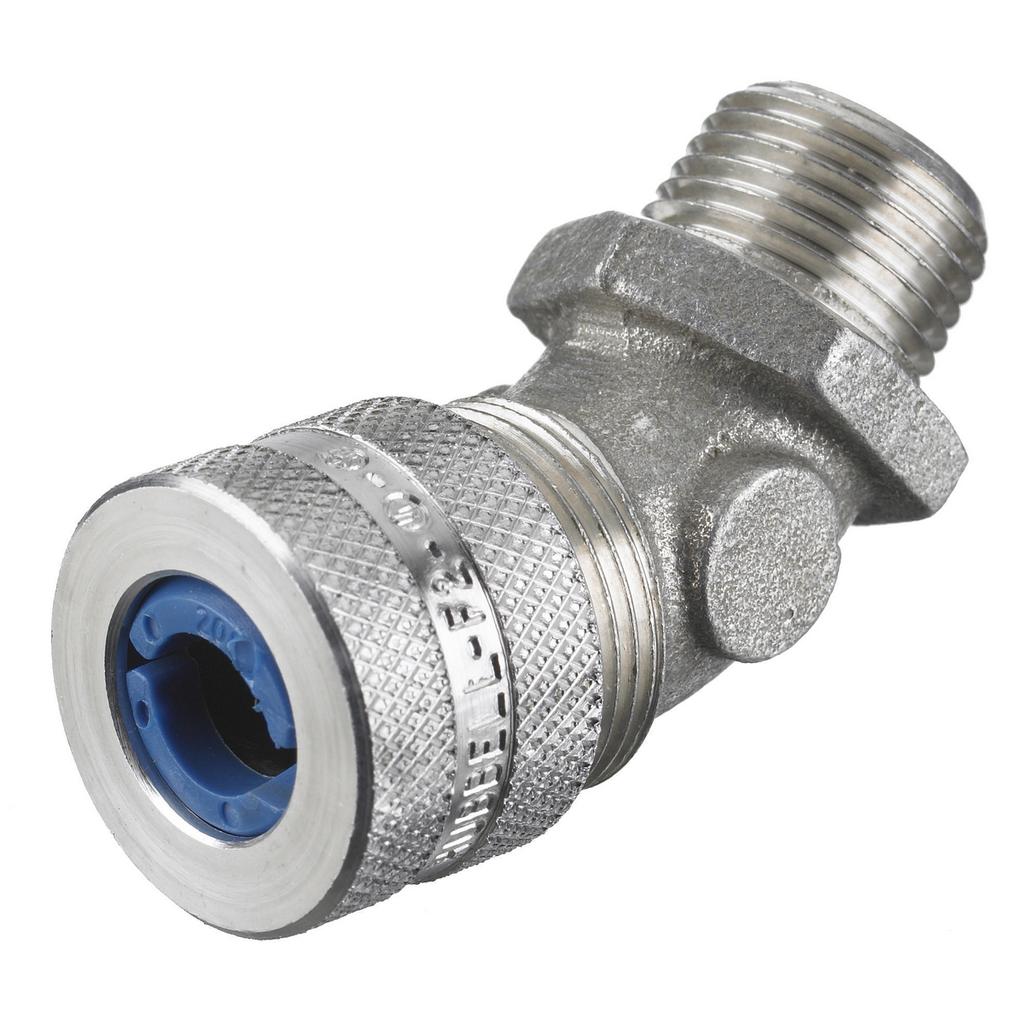 """Kellems Wire Management, Cord Connectors, 45 Degree Male, .38-.50"""", 1/2"""", Aluminum"""