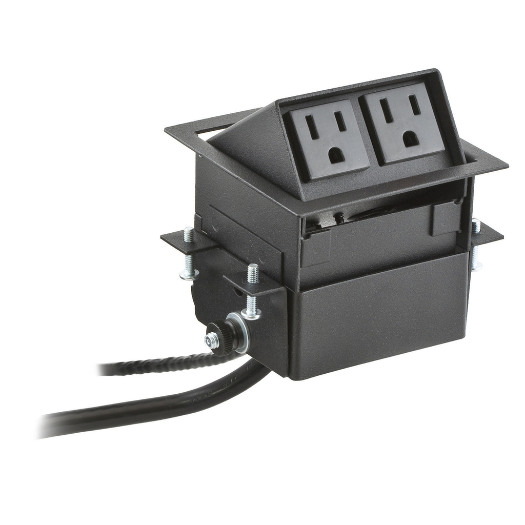 Furniture Connectivity Boxes, Work Surface, Flip Up Mini, 2) Power Black