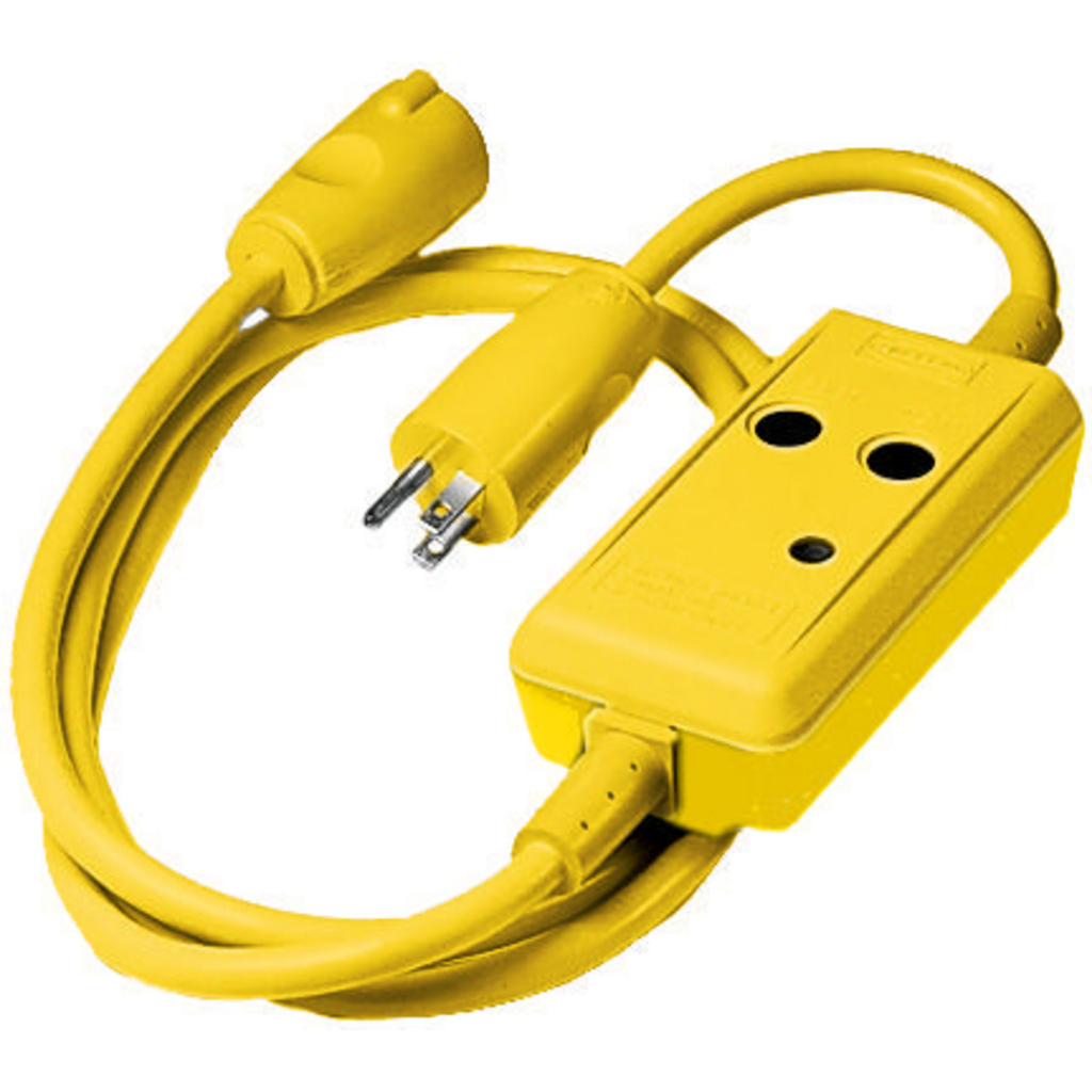 HUBBELL WIRING DEVICES Power Protection Products, GFCI Linecords, Commercial, Auto Set, 15A 120V AC, 5-15R, 6' Cord Length, 4-6 mA Trip Level, Yellow