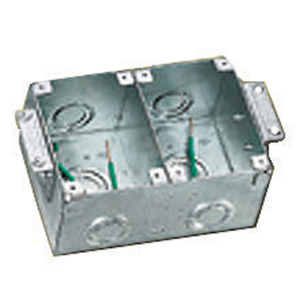 HUBBELL WIRING DEVICES Floor and Wall Boxes, Flush Concrete Floor Box Series, 2-Gang, Rectangular, Steel, Wood Floor Installation, Semi Adjustable