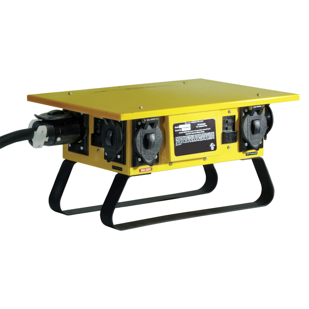 Temporary Power Products, Distribution Boxes, Complete Unit, Locking Style, 50A 125/250V, Yellow