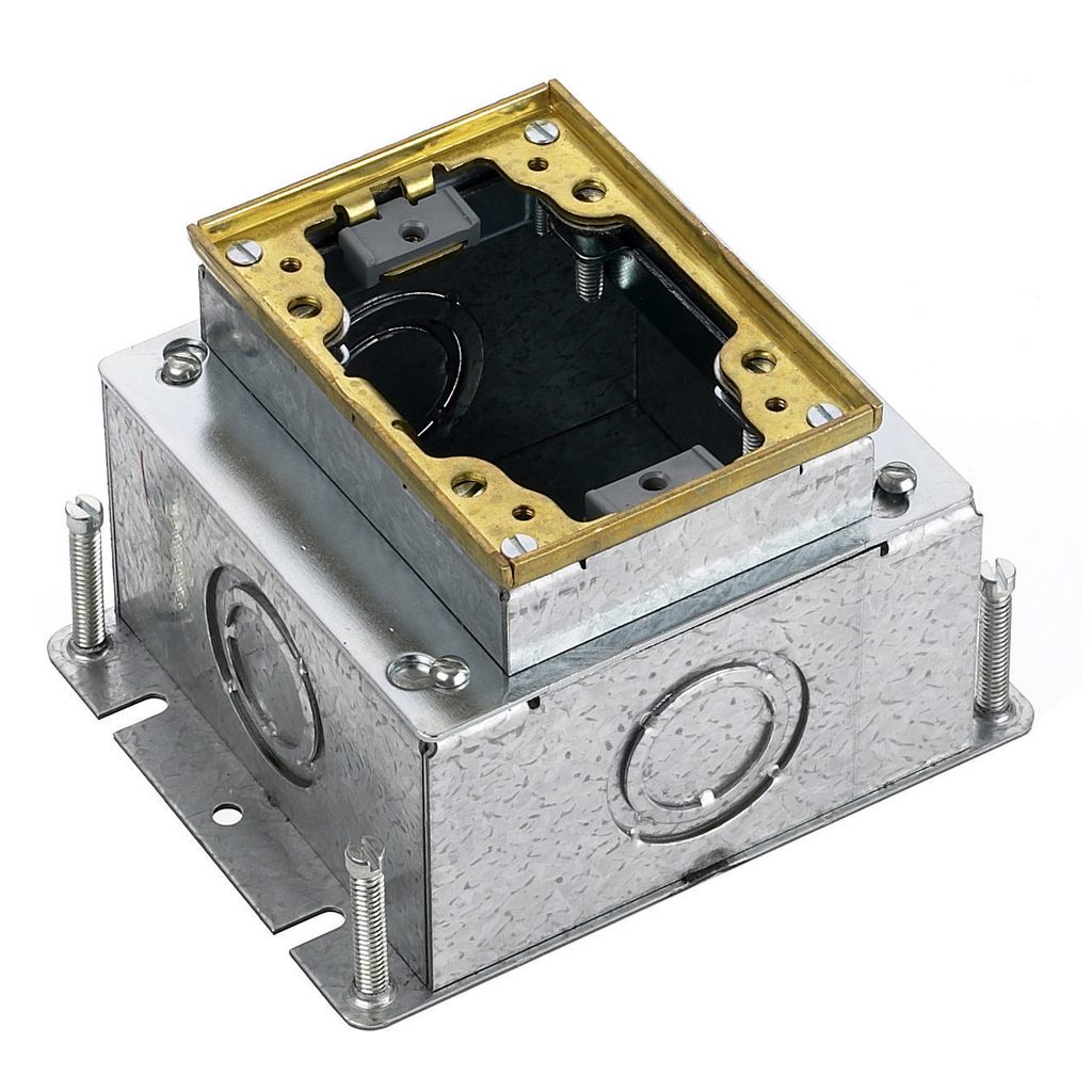HUBBELL WIRING DEVICES Floor and Wall Boxes, Flush Concrete Floor Box Series, 1-Gang, Rectangular Steel, Deep, Fully Adjustable, Brass