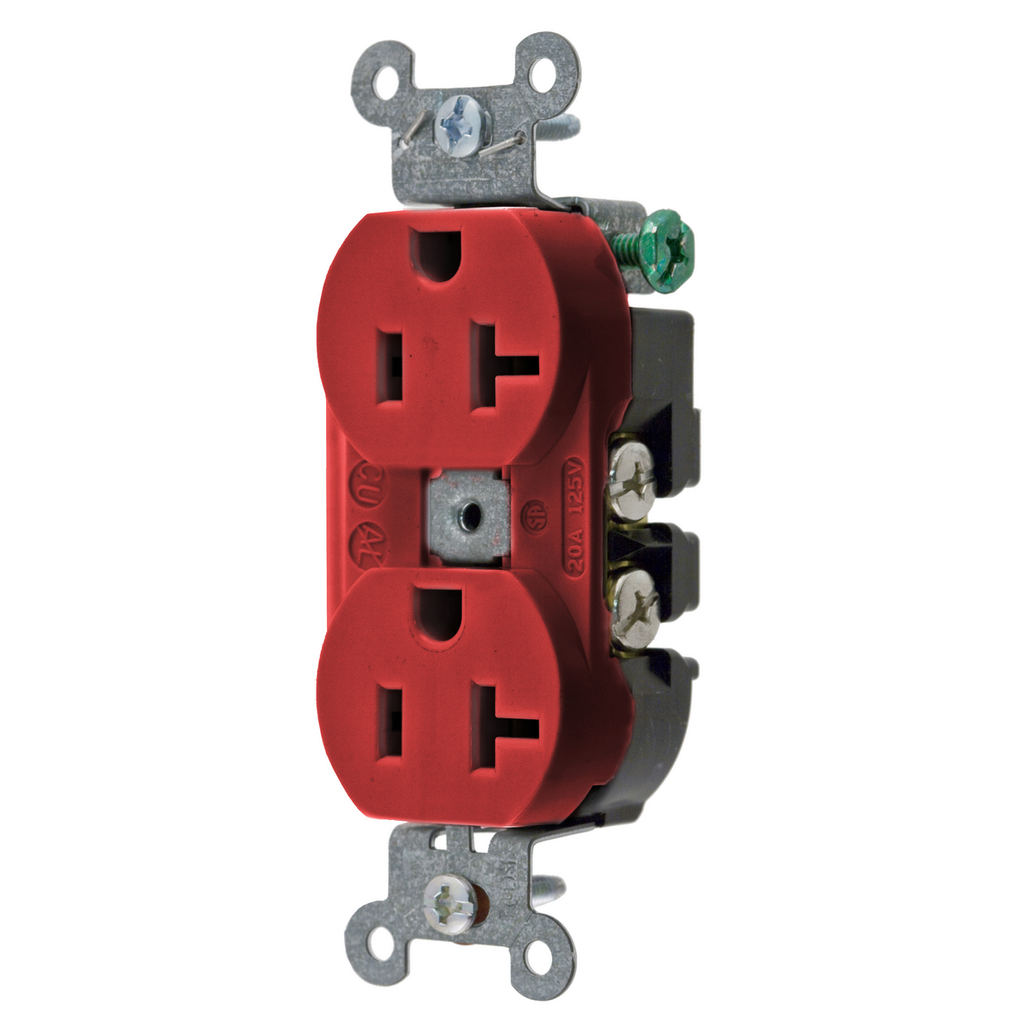 HUBBELL 5352AR RED 20A 125V DUPLEX RECEPTACLE