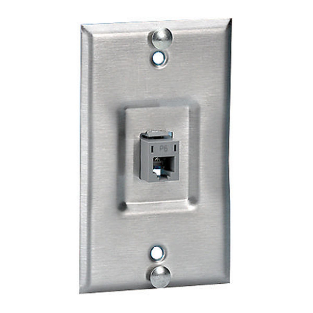 HUBBELL WIRING DEVICES Copper Products, Wallphone Plate, Cat6,1-Gang, 1-Port, Recessed, Stainless Steel