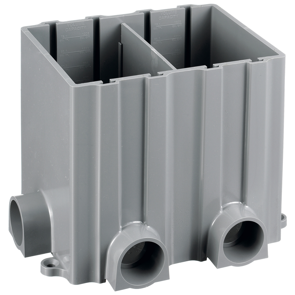 HUBBELL WIRING DEVICES Floor and Wall Boxes, Floor Boxes, Plastic Floor Box Series, Box, 2-Gang Rectangular, Plastic, Gray