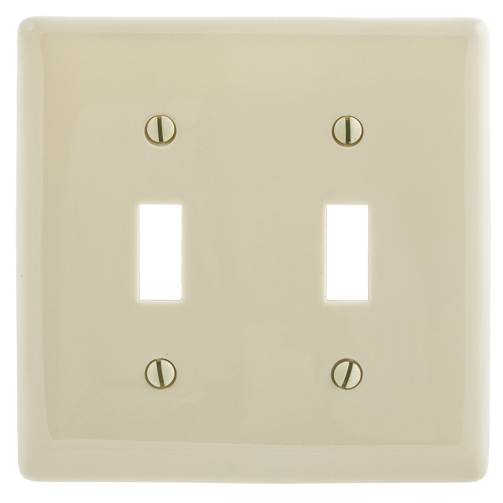 Hubbell Wiring Devices NP2AL 2-Gang Almond 2-Toggle Wall Plate