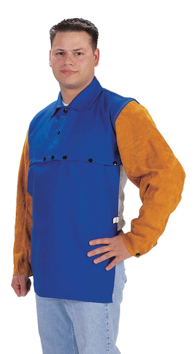 Cape Sleeves - Cotton/Leather - Clothing - Flame Retardant FR7A®/Cowhide - Length 13 in, Width 10.5 in, Height 1.5 in